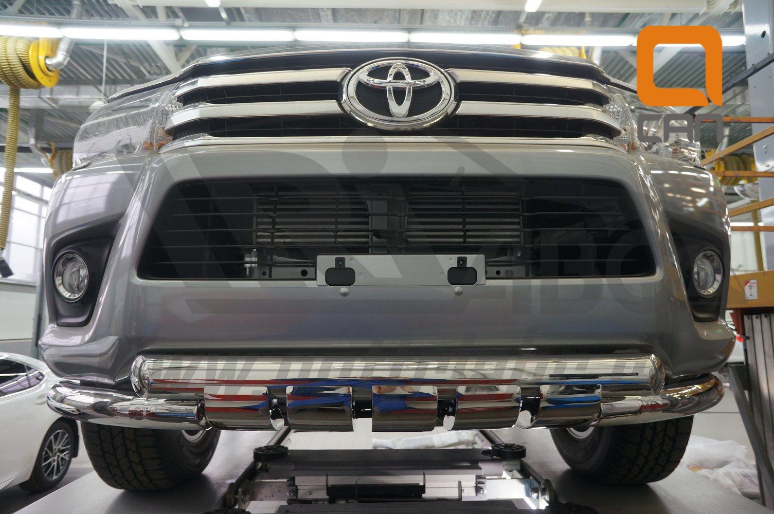 Защита переднего бампера Toyota Hilux (2015-) (двойная Shark) d76 76 3
